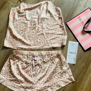 Victoria's Secret rose leopard shorts tank pajamas